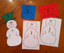 snowman counting matchup file folder game