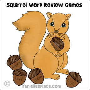 Squirrel Word Review Activity and Coloring Sheet