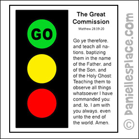"The Great Commission ""Go . . ."" Traffic Light Sunday School Craft for Kids from www.daniellesplace.com"