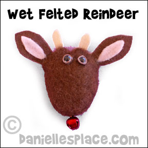 Wet Felted Reindeer Pin Craft for Children from www.daniellesplace.com