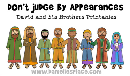 Don't Judge by Appearances - David and his brothers printables for Sunday School Lesson from www.daniellesplace.com