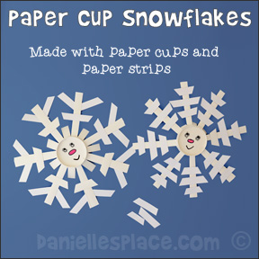 Paper Cup Snowflake Craft for Children from www.daniellesplace.com