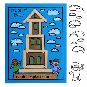 Tower of Babel Crafts Stick Activity  Sheet from www.daniellesplace.com