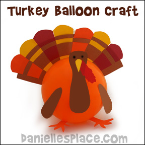 Turkey Balloon Craft from www.daniellesplace.com