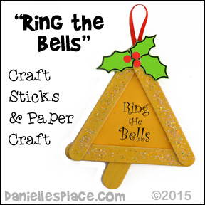 Christmas Bell Craft Stick Ornament from www.daniellesplace.com