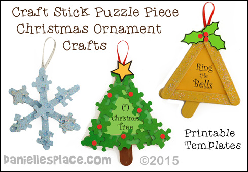 Craft Stick Puzzle Piece Crafts for Christmas from www.daniellesplace.com