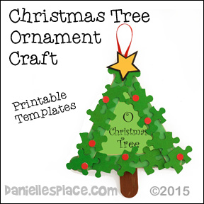 """O Christmas Tree"" Craft Stick and Puzzle Piece Christmas Tree Ornament from www.daniellesplace.com"