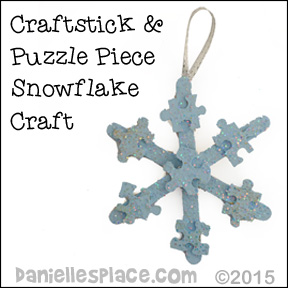 Craft Stick and Puzlle Piece snowflake craft from www.daniellesplace.com