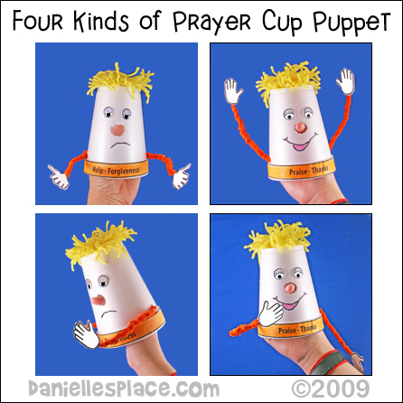 Four Kinds of Prayer Cup Puppet Craft from www.daniellesplace.com