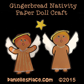Gingerbread Nativity Paper Dolls Craft for Kids from www.daniellesplace.com - Angels