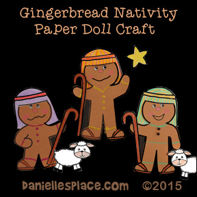 Gingerbread Nativity Paper Dolls Craft for Kids from www.daniellesplace.com - Shepherds