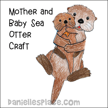 Otter Mom and Baby Paper Craft for Children from www.daniellesplace.com