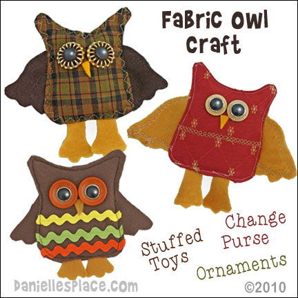 Horned Owl Sewing Craft - Use these owls as stuffed toys, Christms decorations, or Change Purses. Directions on www.daniellesplace.com