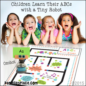 Children learn their ABCs with Ozobot from www.daniellesplace.com