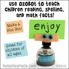 Use Ozobot to teach children reading, spelling, and math facts - Make a slot bot to hold cards for review find out how on www.daniellesplace.com