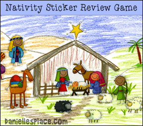 Nativity Scene Bible Review Sticker Game and Craft from www.daniellesplace.com