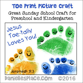 Toe print picture craft for Childrens Ministry  and Preschool and Kindergarten