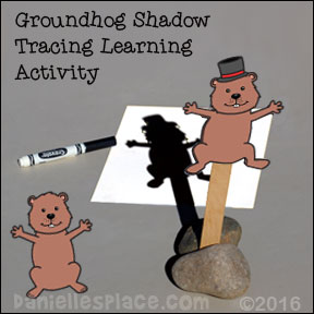 Groundhog Puppets Shadow Tracing Craft and Learning Activity from www.daniellesplace.com