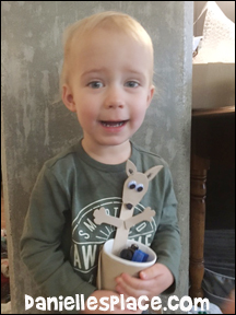 Logan makes a Kangaroo Cup Holder for Australia Day! - Check out www.daniellesplace.com for directions and a printable patten for this craft.