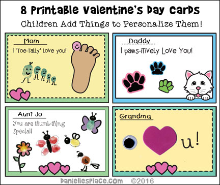 Printable Valentine's Day Cards Children Can Make - Children add things to each card to personalize them for their loved ones.  Go to www.daniellesplace.com/html/valentine-crafts-page-2.html for directions.