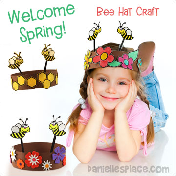 Happy Bees Spring Hat Craft for Kids from www.daniellesplace.com - Celebrate Spring with these fun-to-make paper hats!