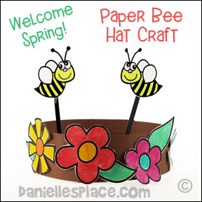 Spring Bee Hat Craft for Children from www.daniellesplace.com