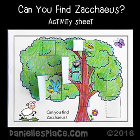 Find Zacchaeus in a Tree Activity Sheet