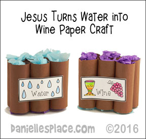 Jesus turns water into wine paper craft
