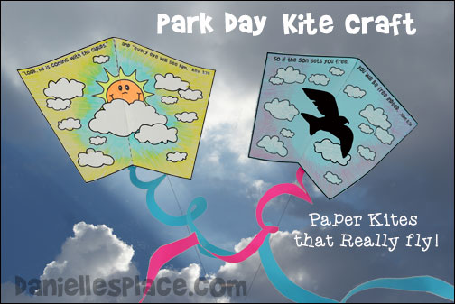 Kite Craft for Kids - Paper kites that really fly are great for days in the park from www.daniellesplace.com