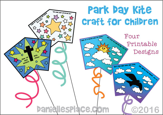 Printable Kite Pattern for Park Day from www.daniellesplace.com - These are great for homeschool groups and children's ministry on Park Days.