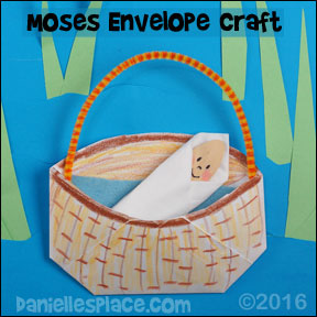 Baby Moses in an Envelope Basket Craft (Closeup) from www.daniellesplace.com