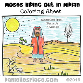 Moses in Midian desert coloring sheet