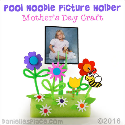 Mother's Day Craft for Kids - Looking for a cheap and easy Mother's Day craft for your preschool or daycare? This unique pool noodle picture holder craft is appropriate for children of all ages. Supply your children with the bee, flower, and bird printables, foam stickers, and Chenille stems and you have a creative, DIY craft for kids!  Go to daniellesplace.com for directions.