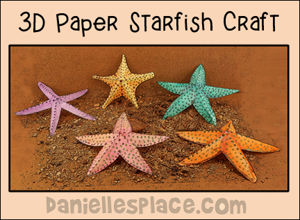 "3D Paper Starfish Craft Decoration for Ocean-themed VBS and Parties from www.daniellesplace.com. Watch our ""View it and Do it Craft! Video to see how it's done."