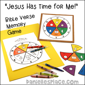 """Jesus Has Time for Me"" Bible Verse Memory Game from www.daniellesplace.com"