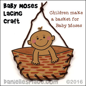 Moses in a Laced Basket Bible Craft for Sunday school and Children's Ministry from www.daniellesplace.com