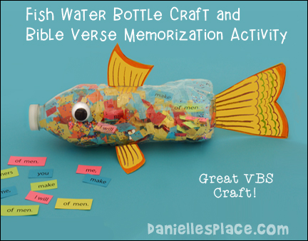 Fish Water Bottle Craft and Bible Verse Memorization Activity for VBS from www.daniellesplace.com