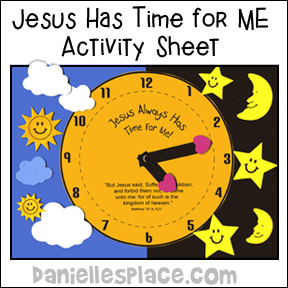 """Jesus has time for Us"" Clock Activity Sheet from www.daniellesplace.com"
