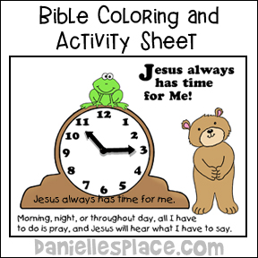 Clock Coloring and Activity Sheet from www.daniellesplace.com