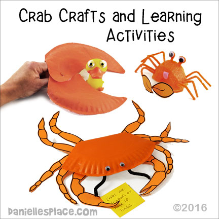 Crab Crafts and Leraning Activities from Danielle's Place - Great for Vacation Bible school and Home school Science Lessons