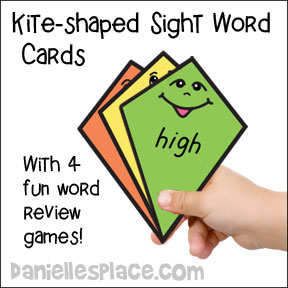 "Kite sight word printable cards for ""The Kite"" Childrens' book and other Kite-themed books from www.daniellesplace.com"
