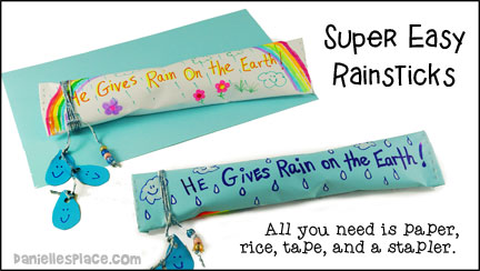 Super Easy Rainstick Craft using paper and rice from www.daniellesplace.com