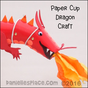 "Dragon Paper Cup Puppet Craft with ""View it and Do it"" Video from www.daniellesplace.com ©2016"