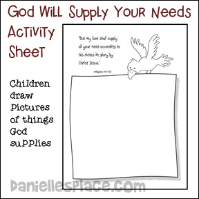 God Will Supply all Our Needs Activity Sheet from www.daniellesplace.com