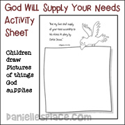 God will supply all your needs Activity Sheet from www.daniellesplace.com