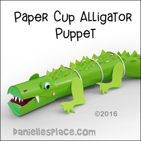 Alligator Paper Cup Puppet from www.daniellesplace.com