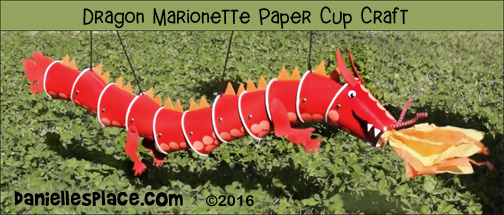 Dragon Marionetter Cup Craft from www.daniellesplace.com ©2016