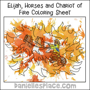 Elijah, Chariots and Horses of Fire Bible Activity and Coloring Sheet from www.daniellesplace.com
