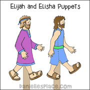 Elijah and Elisha Stick Puppets Sunday School Craft