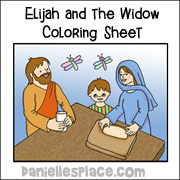 Elijah and the Widow Coloring Sheet from www.daniellesplace.com